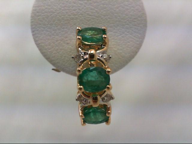 Emerald Gold-Diamond & Stone Earrings 8 Diamonds .08 Carat T.W. 14K Yellow Gold