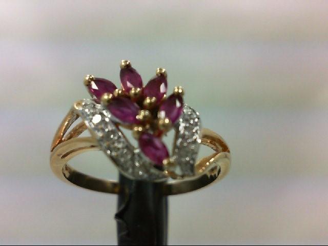 Ruby Lady's Stone & Diamond Ring 8 Diamonds .08 Carat T.W. 10K Yellow Gold 2.2g
