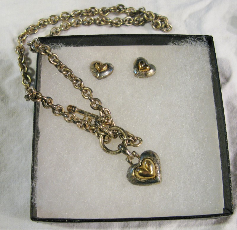 "16"" Heavy Round Link Chain 2-Tone Heart Pendand & Earrings925 Silver 32.5dwt"