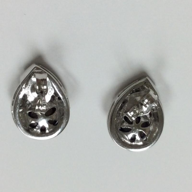 Pearl Gold-Diamond & Stone Earrings 24 Diamonds .24 Carat T.W. 14K White Gold