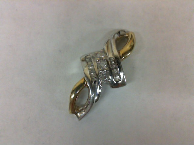 Gold-Multi-Diamond Pendant 15 Diamonds 0.18 Carat T.W. 10K 2 Tone Gold 2g