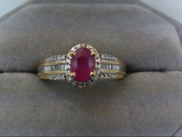 Ruby Lady's Stone & Diamond Ring 10 Diamonds .10 Carat T.W. 10K Yellow Gold