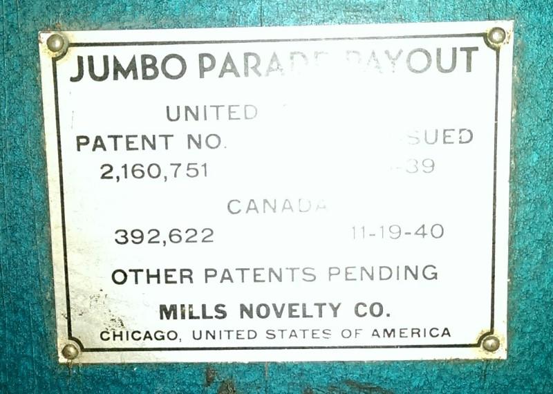 MILLS NOVELTY CO. JUMBO PARADE $.05 SLOT MACHINE