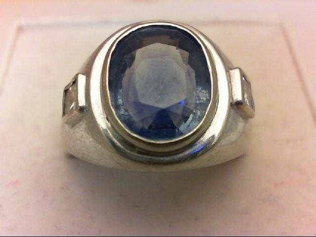 Sapphire Gent's Stone & Diamond Ring 2 Diamonds 0.5 Carat T.W. 14K White Gold 8.