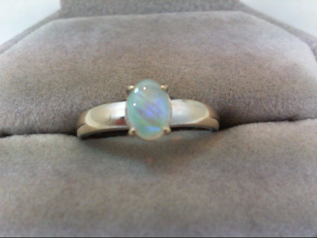Opal Lady's Stone Ring 18K White Gold 2.3g