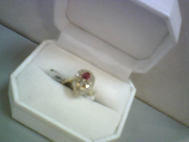 Ruby Lady's Stone & Diamond Ring 38 Diamonds .38 Carat T.W. 14K Yellow Gold