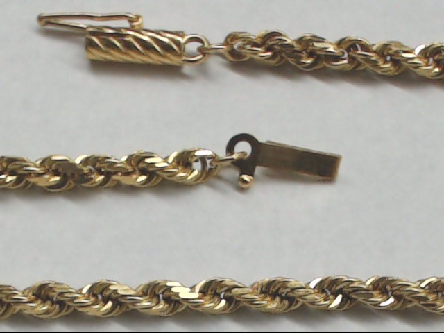 Gold Rope Bracelet 14K Yellow Gold 5.6g