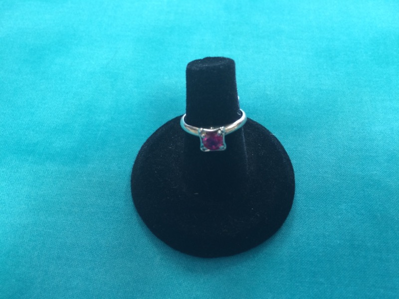 Synthetic Pink Sapphire Lady's Stone Ring 14K White Gold 1.7dwt