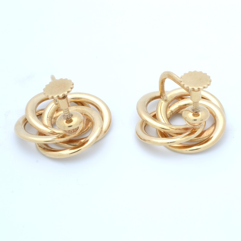 ESTATE SOLID 14K YELLOW GOLD EARRINGS KNOT CLIP SCREW BACK 10.2g