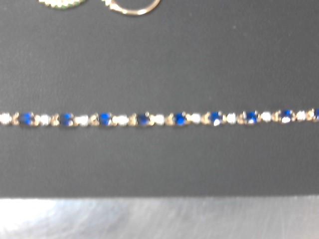 Synthetic Sapphire Silver-Stone Bracelet 925 Silver 8.6g