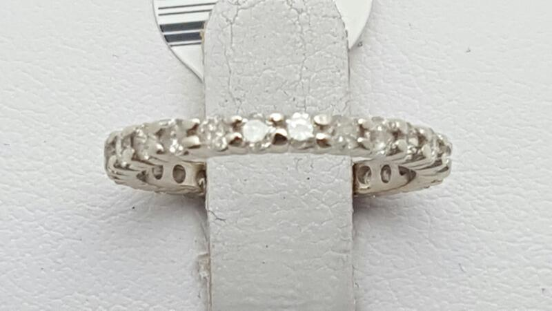 Lady's Gold-Diamond eternity Ring 25 Diamonds .75 Carat T.W. 14K White Gold