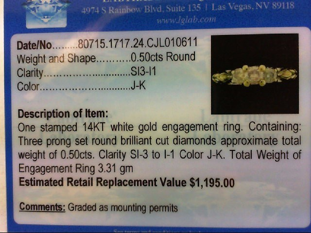 Lady's Diamond Engagement Ring 3 Diamonds .51 Carat T.W. 14K White Gold 3.31g