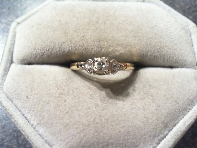 Lady's Diamond Engagement Ring 3 Diamonds .18 Carat T.W. 14K 2 Tone Gold 1.5g