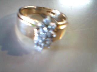 Lady's Diamond Cluster Ring 13 Diamonds .65 Carat T.W. 14K Yellow Gold 5g