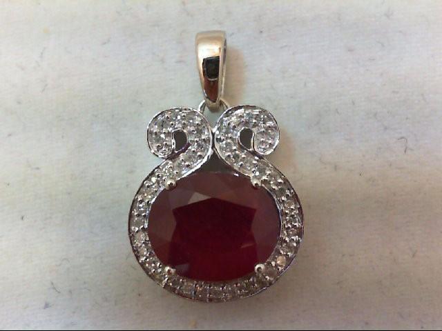 Ruby Gold-Diamond & Stone Pendant 41 Diamonds .41 Carat T.W. 10K White Gold