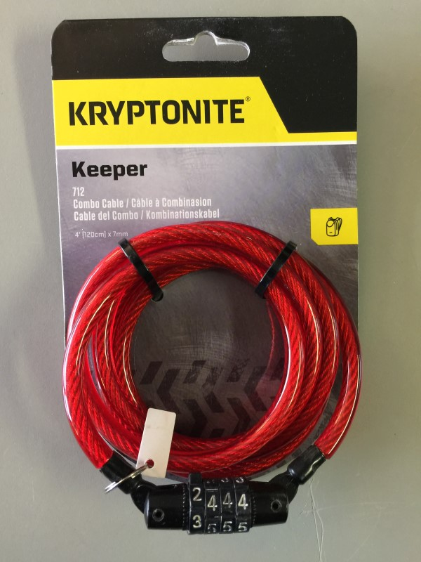 KRYPTONITE KEEPER 712 4-DIGIT COMBINATION BIKE LOCK 4' RED NEW!