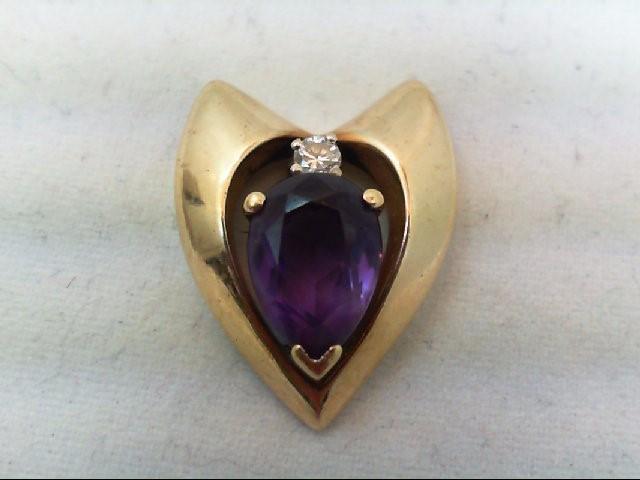 Amethyst Gold-Diamond & Stone Pendant .05 CT. 14K Yellow Gold 6.1g