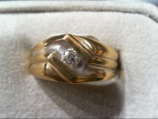Gent's Diamond Fashion Ring .14 CT. 14K 2 Tone Gold 3.4g