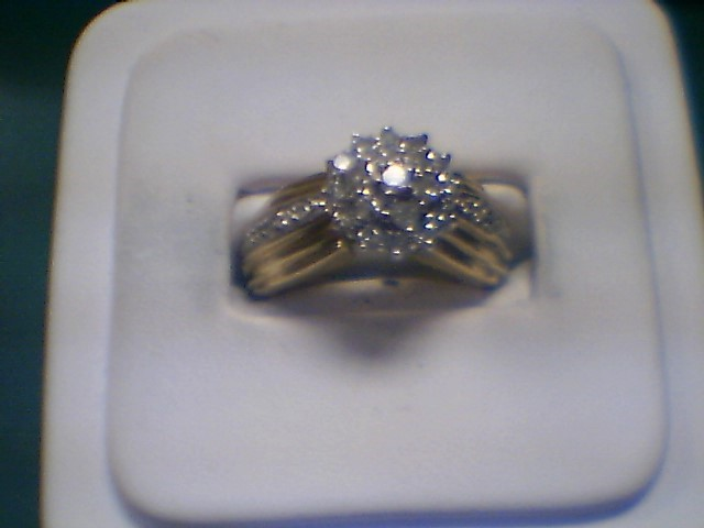 Lady's Diamond Cluster Ring 31 Diamonds .56 Carat T.W. 10K Yellow Gold 4.3g