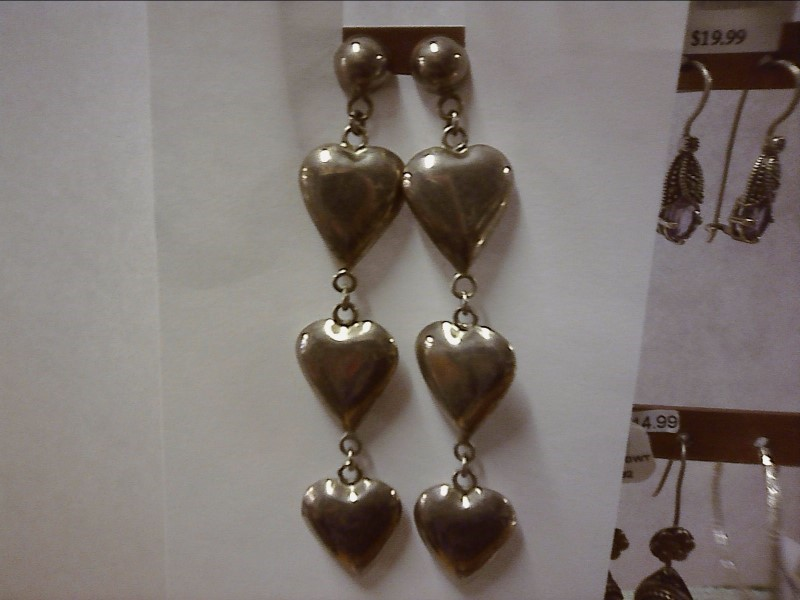 STERLING DOMES WITH THREE HALLOW HEARTS DANGLING