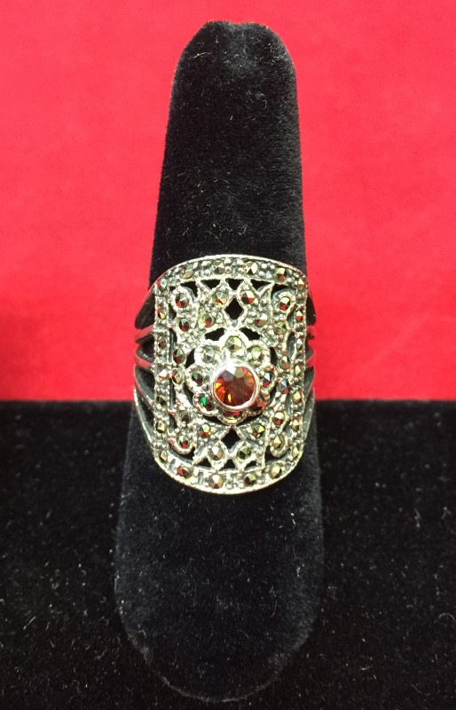 Synthetic Orange Tourmaline Lady's Silver & Stone Ring 925 Silver 4.5dwt