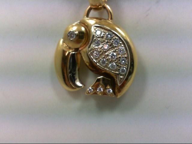 Gold-Multi-Diamond Pendant 20 Diamonds .20 Carat T.W. 18K Yellow Gold 10.36g