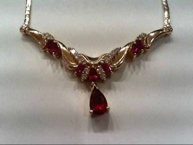 Ruby Diamond & Ruby Necklace 16 Diamonds .25 Carat T.W. 14K Yellow Gold 12g