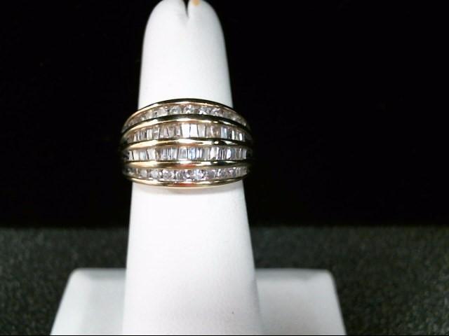 Lady's Diamond Cluster Ring 60 Diamonds .82 Carat T.W. 10K Yellow Gold 6.4g