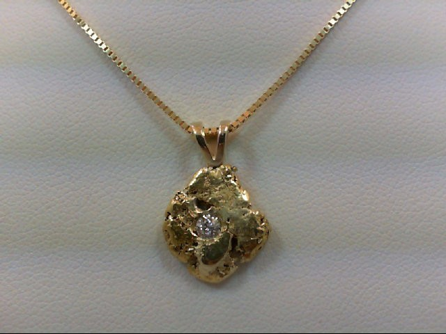 Gold-Diamond Solitaire Pendant .16 CT. 24K Yellow Gold 5.4g