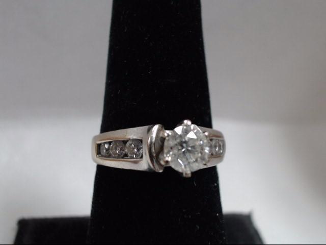 Lady's Diamond Engagement Ring 7 Diamonds 1.20 Carat T.W. 14K White Gold 4.99g