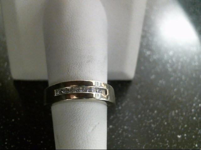 Gent's Gold-Diamond Wedding Band 9 Diamonds .27 Carat T.W. 14K White Gold 5.4g