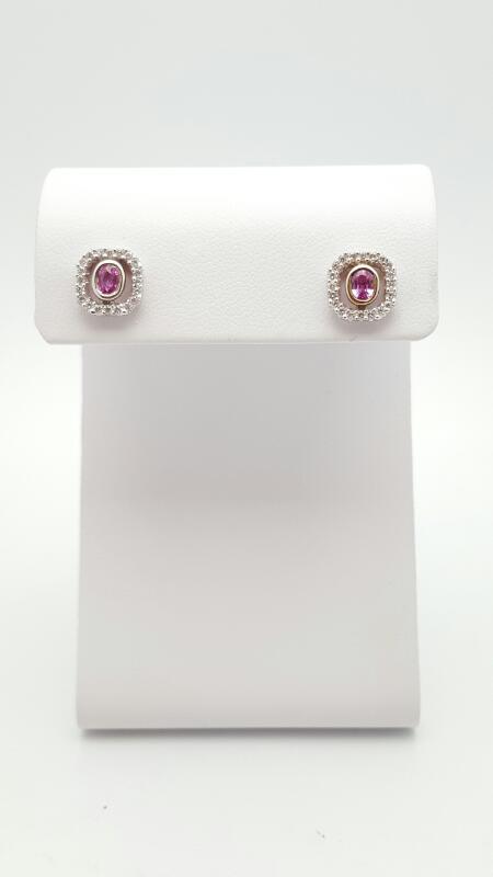 Pink Sapphire Gold-Diamond & Stone Earrings 30 Diamonds .30 Carat T.W. 18K White
