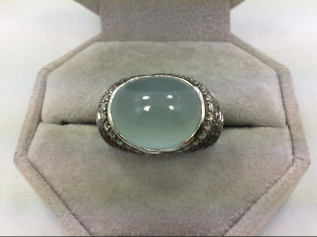 Sapphire Lady's Stone & Diamond Ring 26 Diamonds 0.26 Carat T.W. 14K White Gold