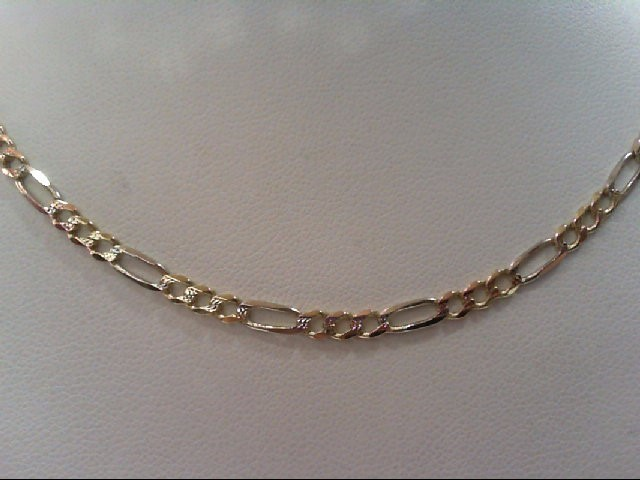 "22"" Gold Figaro Chain 14K Yellow Gold 8.4g"