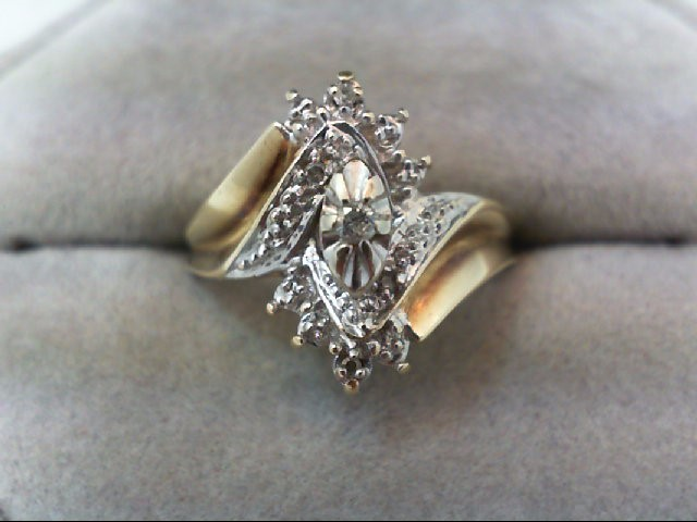 Lady's Diamond Cluster Ring 5 Diamonds .06 Carat T.W. 10K Yellow Gold 3.4g