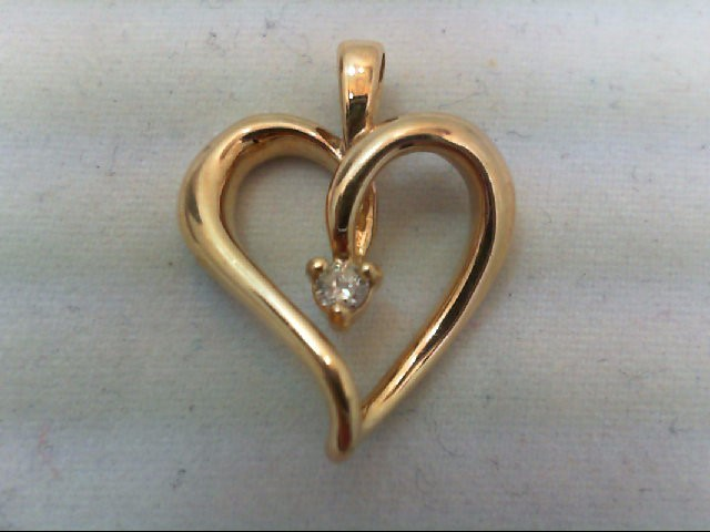 Gold-Diamond Solitaire Pendant .08 CT. 10K Yellow Gold 1.9g