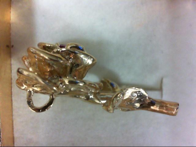 Pink Sapphire Gold-Stone Pendant 14K Yellow Gold 8.8g
