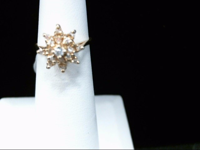 Lady's Diamond Cluster Ring 17 Diamonds .19 Carat T.W. 14K Yellow Gold 3.3g