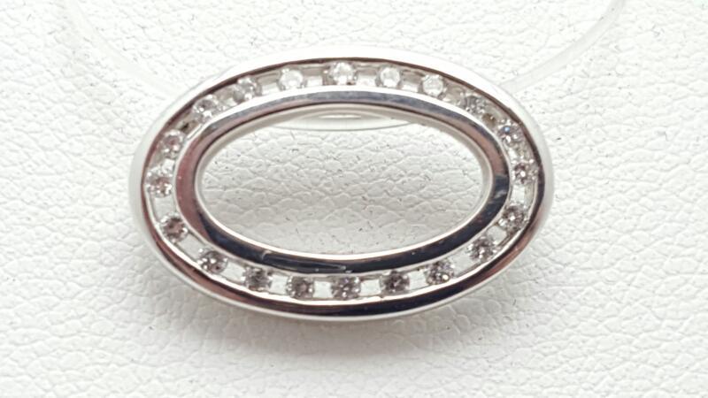 Gold-Multi-Diamond Pendant 20 Diamonds .20 Carat T.W. 14K White Gold 2.2g