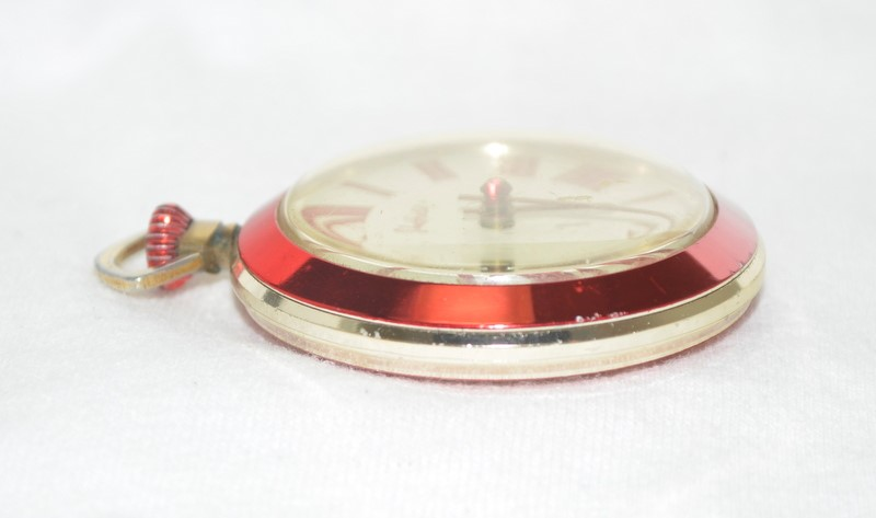 SHEFFIELD RED POCKET WATCH ALUMINUM