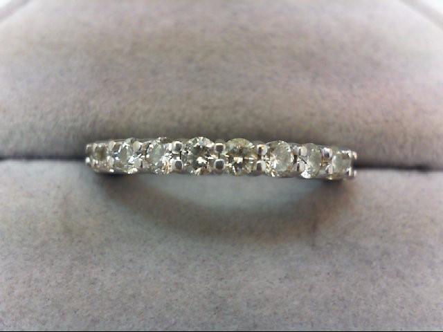 Lady's Diamond Wedding Band 11 Diamonds .77 Carat T.W. 18K White Gold 3.63g
