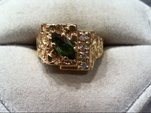 Synthetic Green Tourmaline Gent's Stone & Diamond Ring