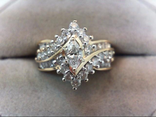 Lady's Diamond Wedding Set 35 Diamonds 1.20 Carat T.W. 14K Yellow Gold 7.3g