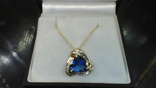 Triangular Sapphire Diamond & Stone 10K Yellow Gold Necklace