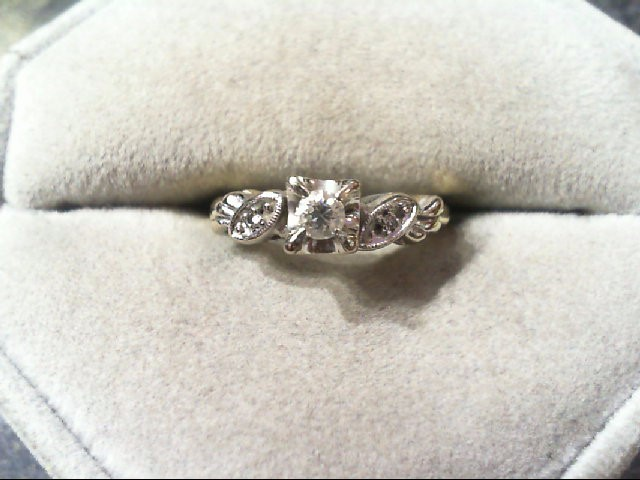 Lady's Diamond Engagement Ring 3 Diamonds .12 Carat T.W. 14K 2 Tone Gold 2.7g
