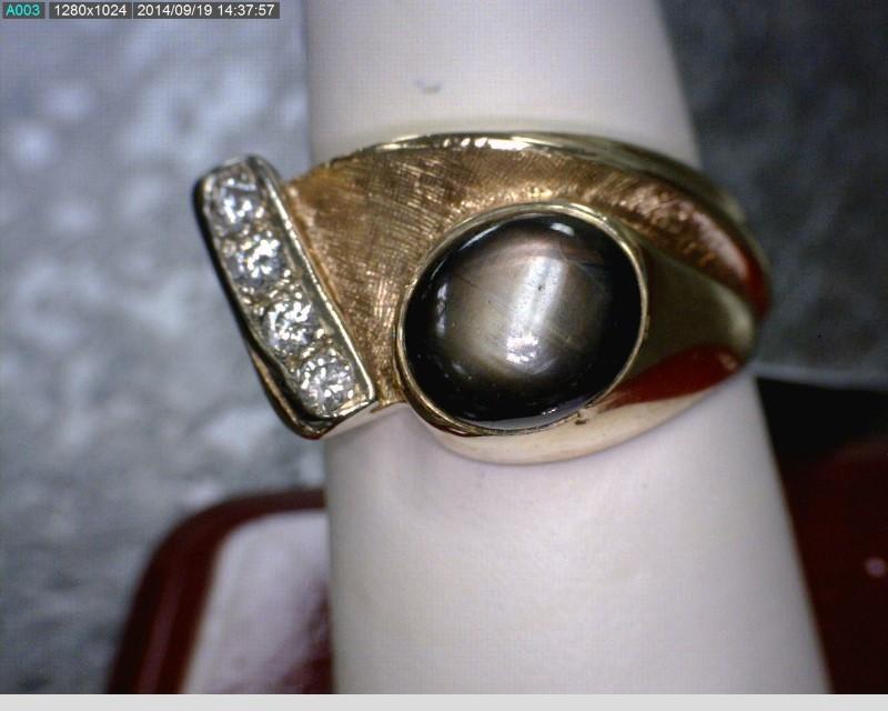 Cats Eye Crysoberyl Gent's Stone & Diamond Ring 4 Diamonds .16 Carat T.W.