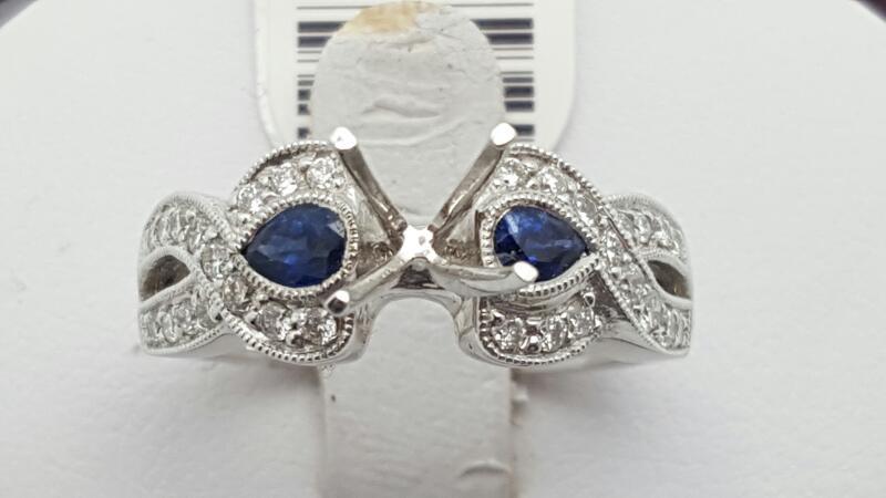 Sapphire Lady's Stone & Diamond Ring 73 Diamonds .73 Carat T.W. 14K White Gold 5