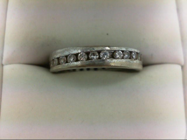 Cubic Zirconia Lady's Silver & Stone Ring 925 Silver 3.7g Size:9