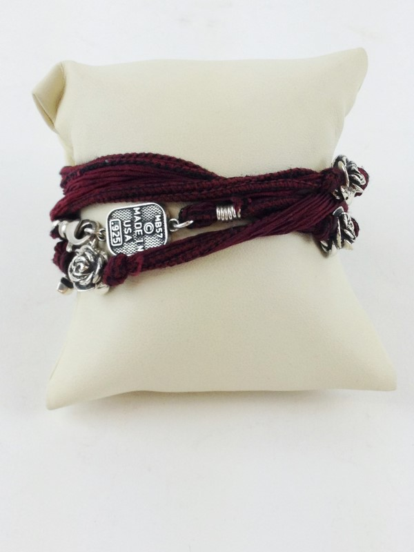 KING BABY STUDIO NECKLACE STERLING SILVER WITH MAROON CORD NECKLACE