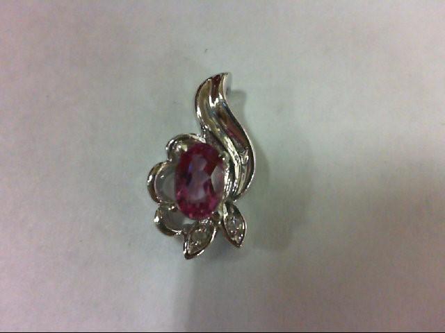 Synthetic Pink Stone Gold-Diamond & Stone Pendant 2 Diamonds 0.02 Carat T.W. 10K